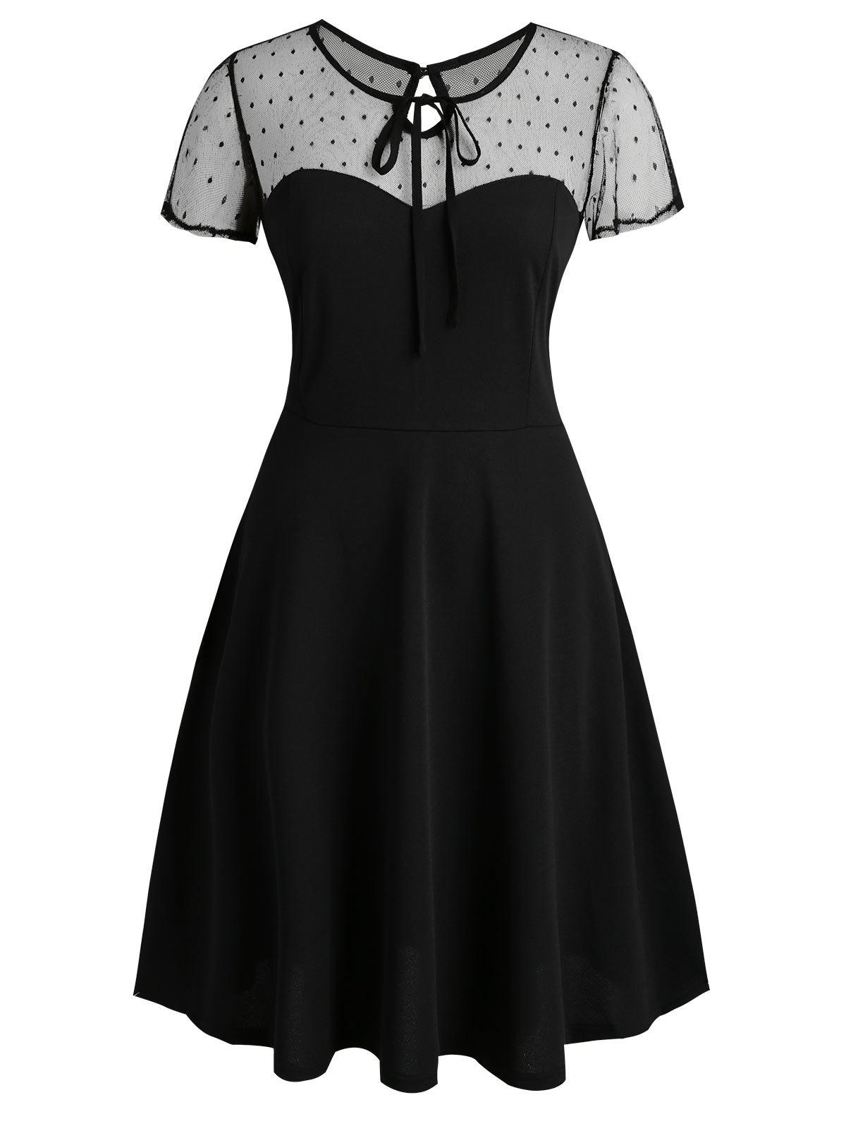 Dotted Mesh Keyhole Back Tie Collar Plus Size Dress - BLACK 4XL
