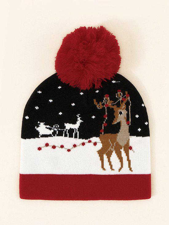 Christmas Elk Pattern Bubble Knitted Hat - LAVA RED