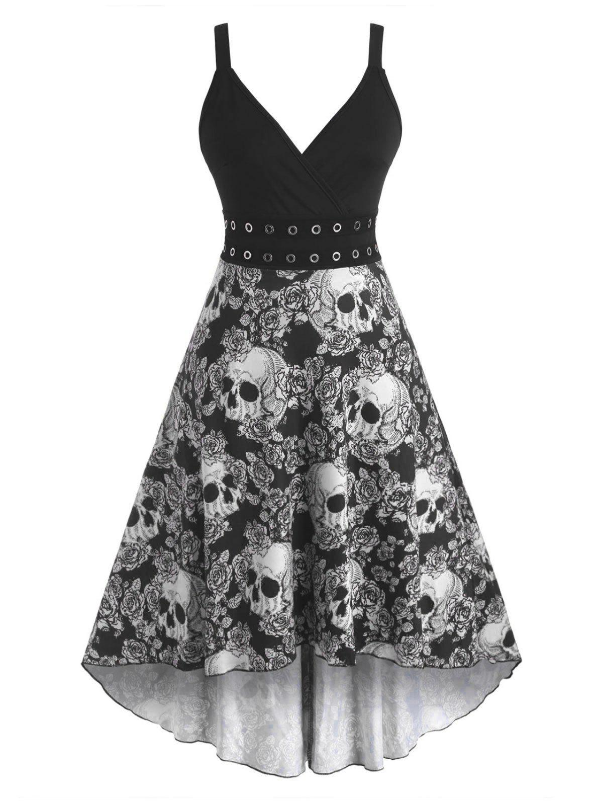 Halloween Skull Floral Grommets High Low Surplice Dress - WHITE 2XL