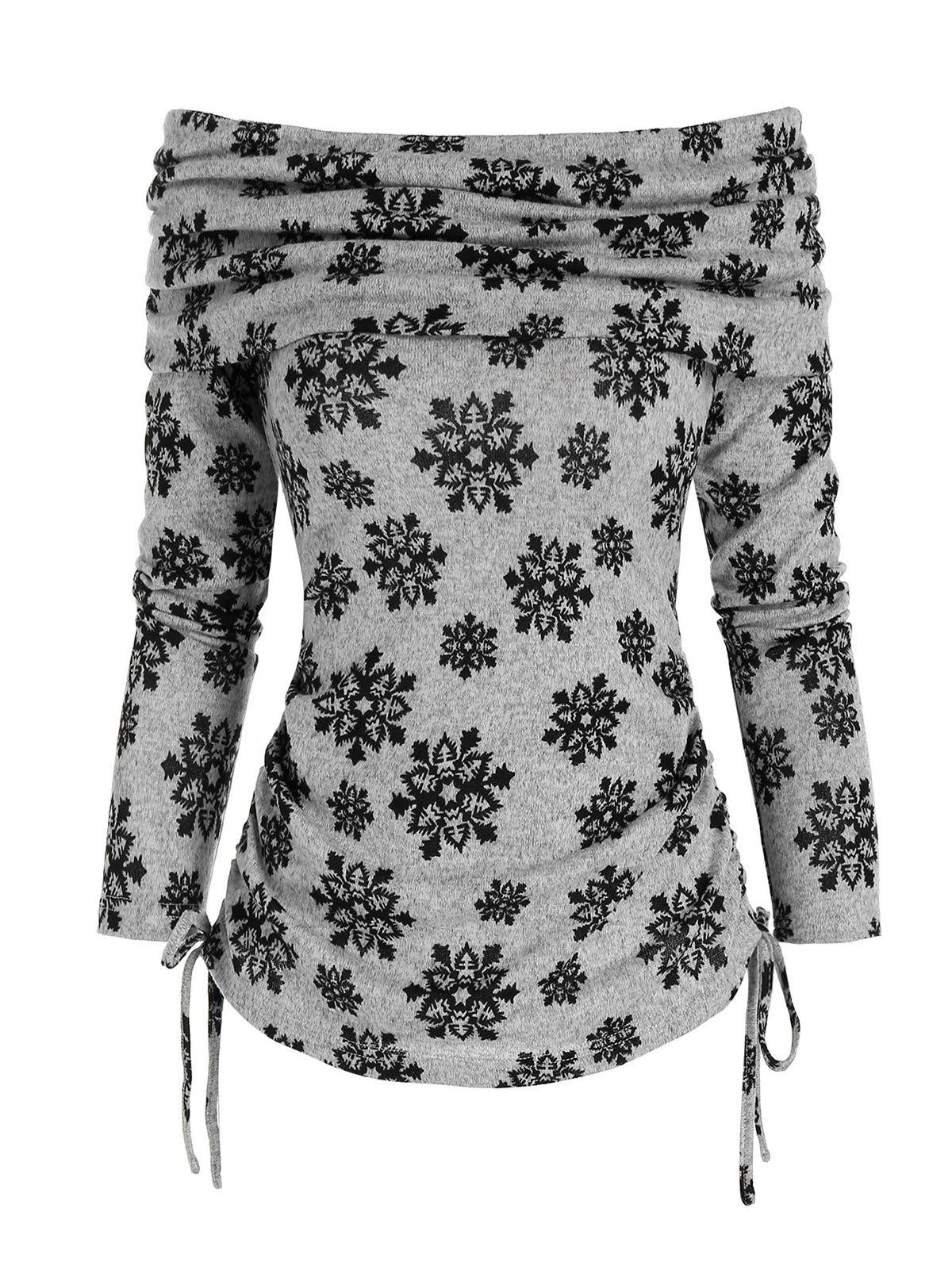 Christmas Snowflake Pattern Off The Shoulder Cinched Sweater - ASH GRAY XL