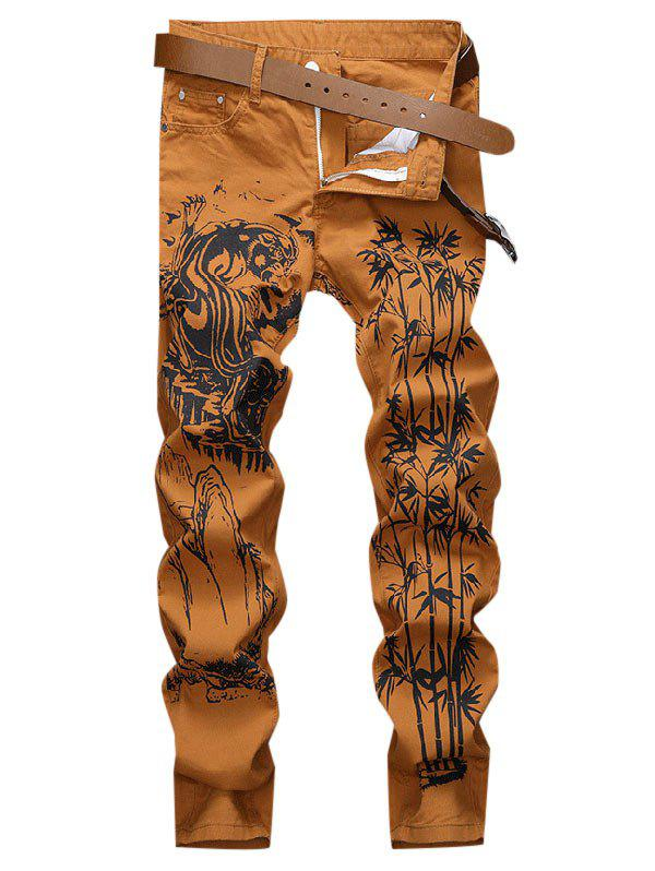 Tiger Bamboo Mountain Print Long Jeans - DARK ORANGE 32
