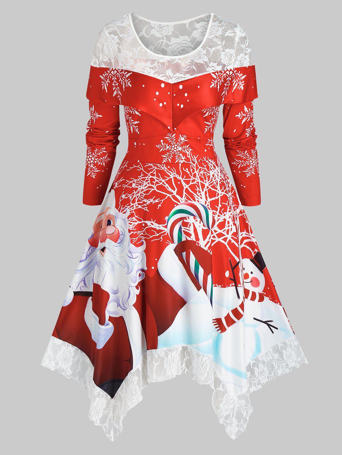 Plus Size Christmas Claus Print Lace Insert Hanky Hem Dress - RED 5X