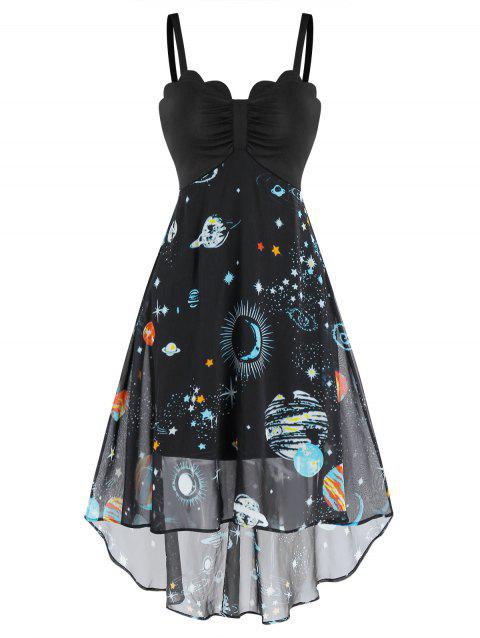 Ruched Star Planet Print High Low Cami Dress