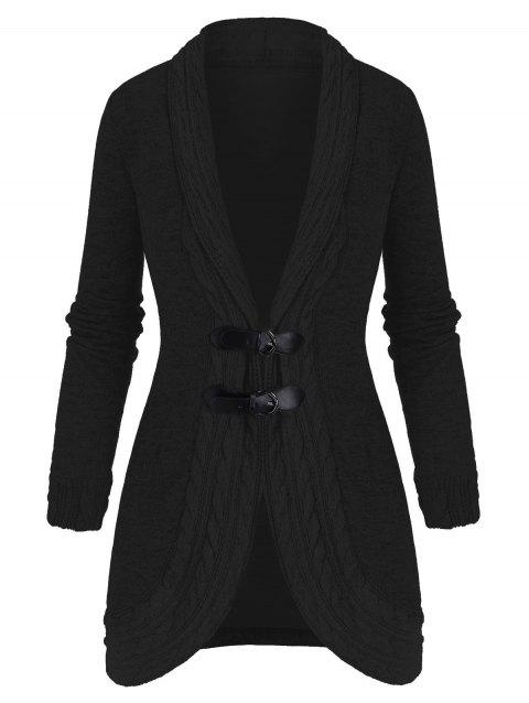 Shawl Collar Buckled Cable Knit Heathered Cardigan