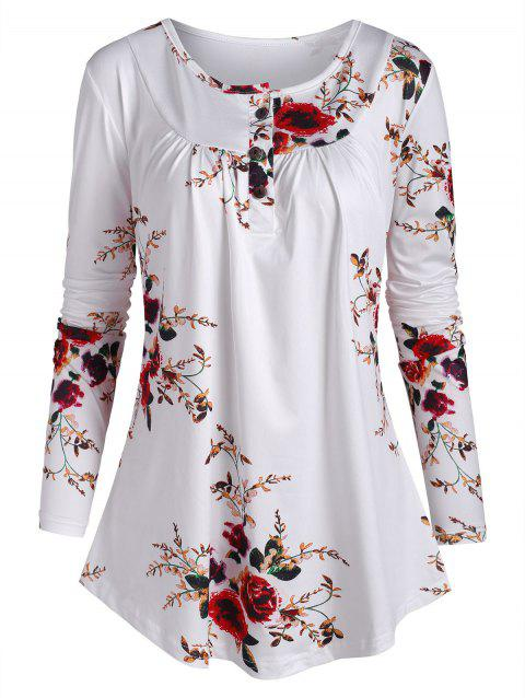Half Button Floral Long Sleeve Peasant Top