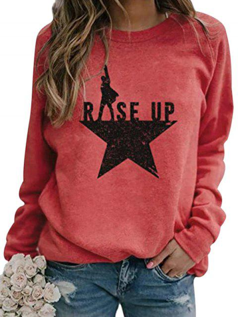 Star Rise Up Graphic Raglan Sleeve Sweatshirt