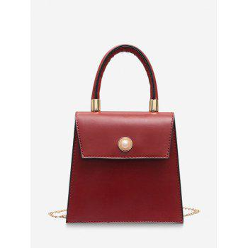 Faux Pearl Detail Chain Strap Crossbody Bag - RED WINE