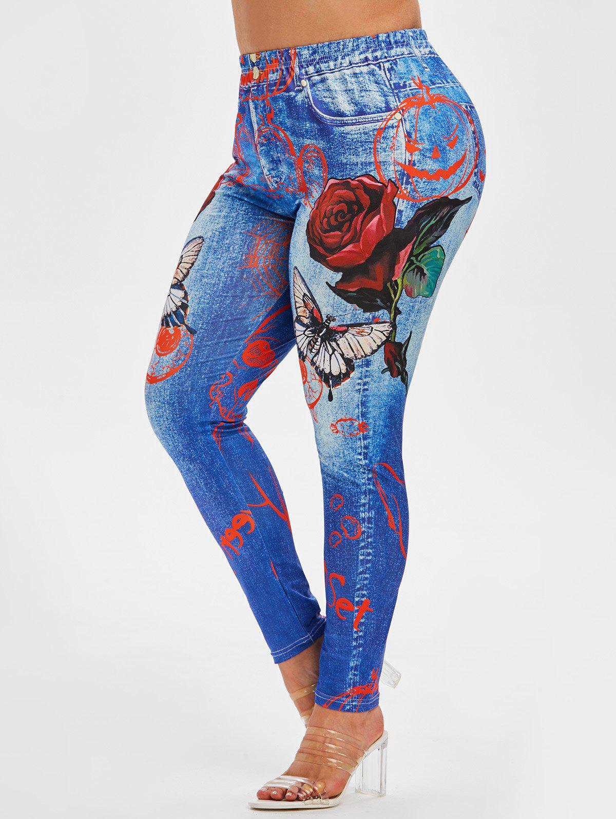 Plus Size Rose Butterfly 3D Halloween Print High Rise Jeggings - BLUE 5X