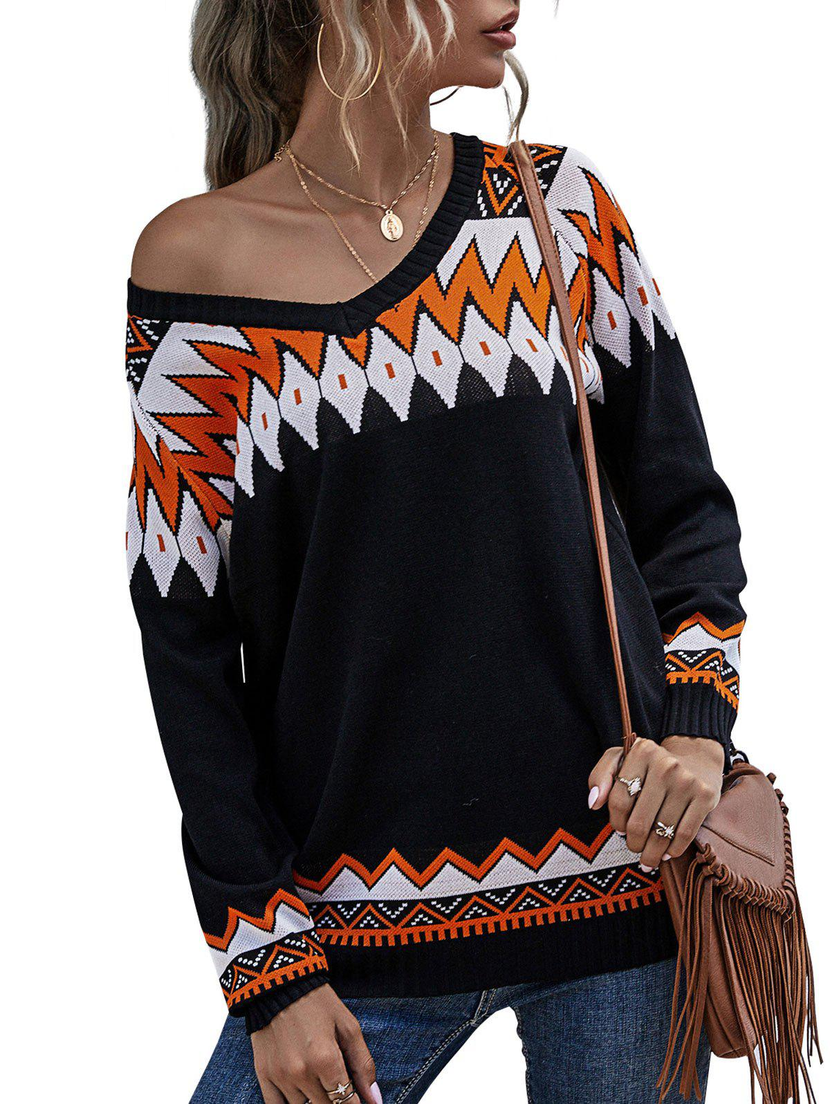 Geo Pattern Raglan Sleeve Sweater - BLACK S