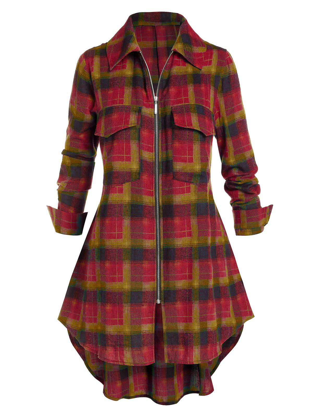 Plus Size Plaid Zip Dual Pocket Tunic Blouse - FIREBRICK 3X