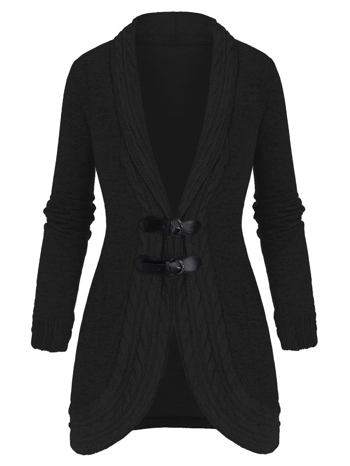 Shawl Collar Buckled Cable Knit Heathered Cardigan - BLACK S