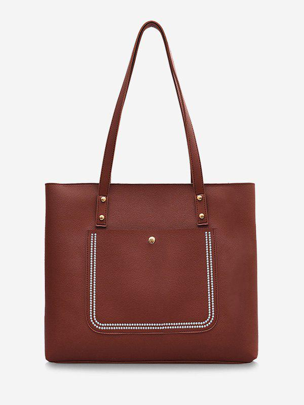 Large Capacity Pure Color Tote Bag - BROWN