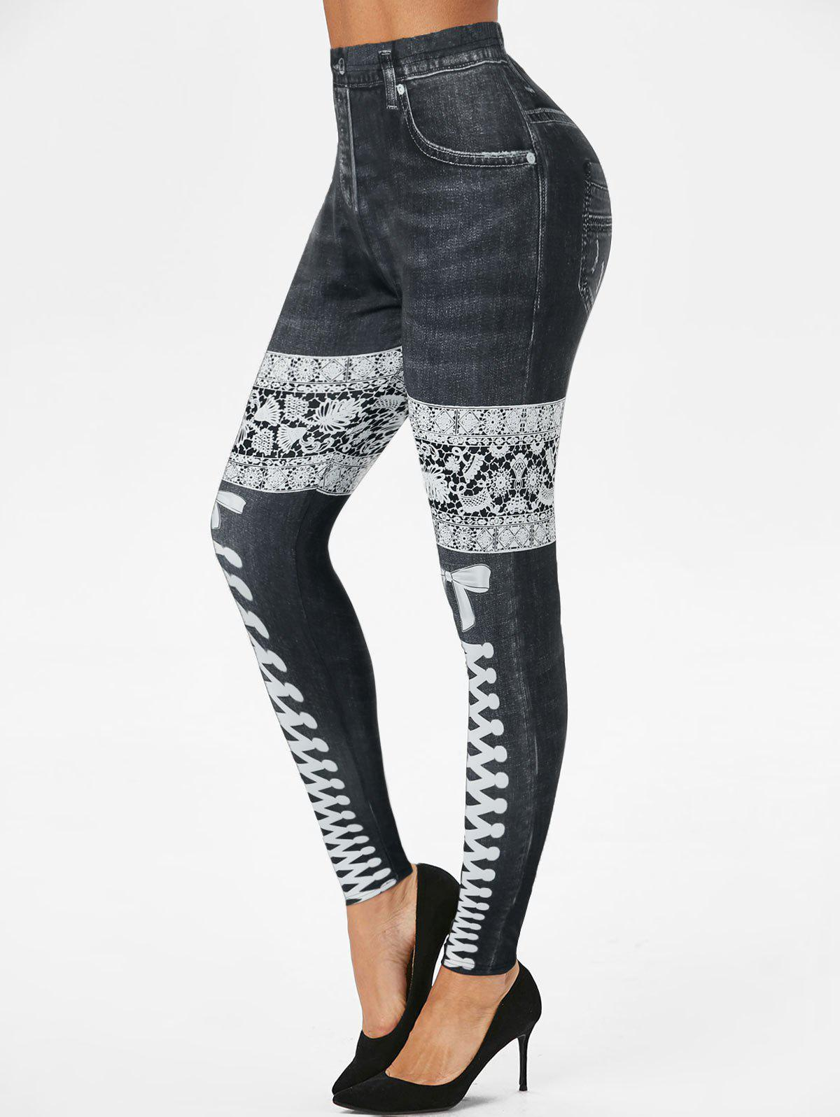 High Rise 3D Lace Up Denim Print Skinny Jeggings - BLACK M