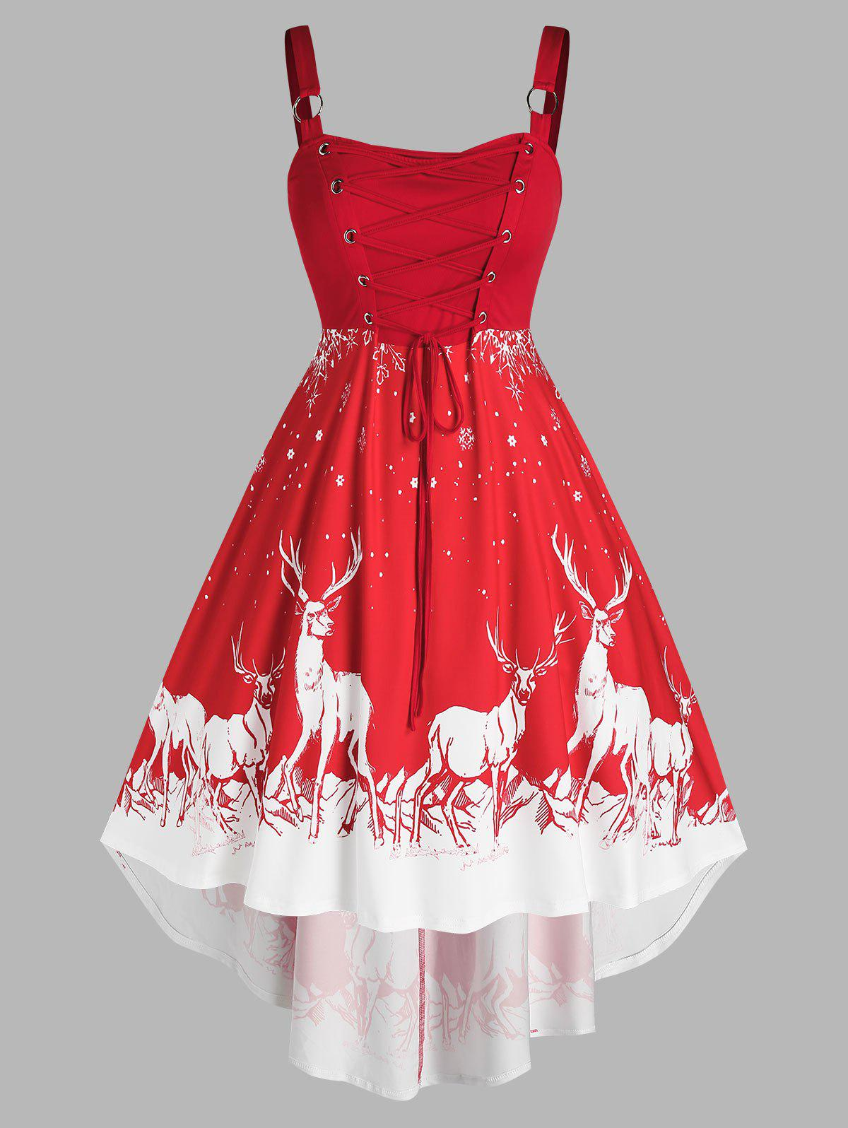 Plus Size Christmas Elk Snowflake Lace Up O Ring Dress - RED 1X