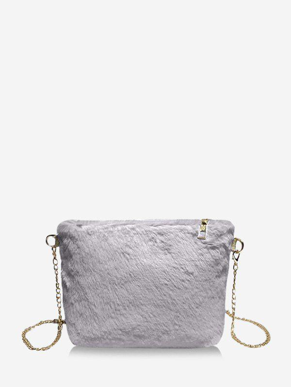 Faux Fur Chain Rectangle Crossbody Bag - BLUE GRAY