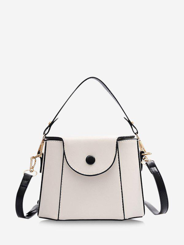 Colorblock Cover Crossbody Small Bucket Bag - NATURAL WHITE