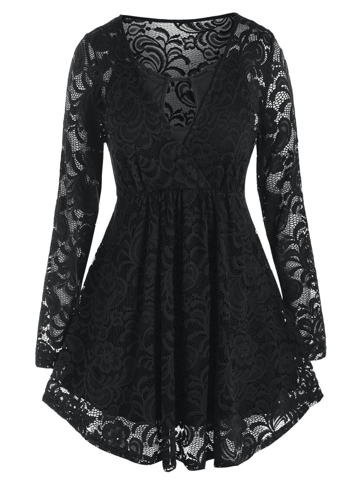 Plus Size Lace Surplice Blouse and Keyhole Camisole Set - BLACK L