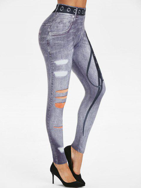 Lace-up 3D Print Skinny Jeggings