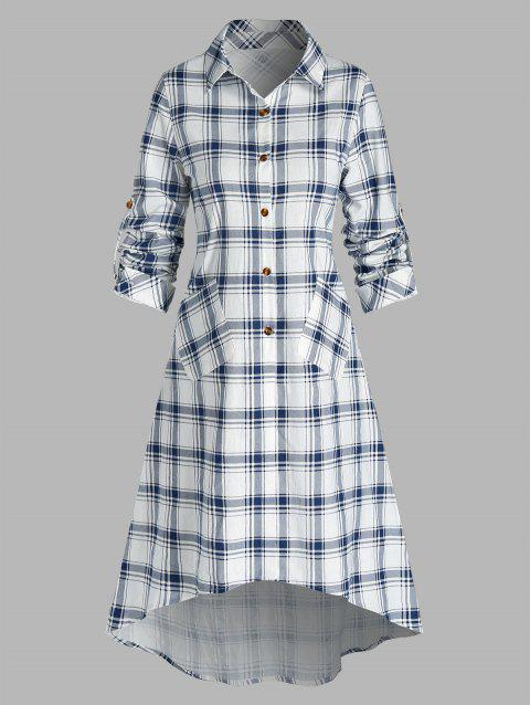 Plaid Print Double Pockets Long Shirt