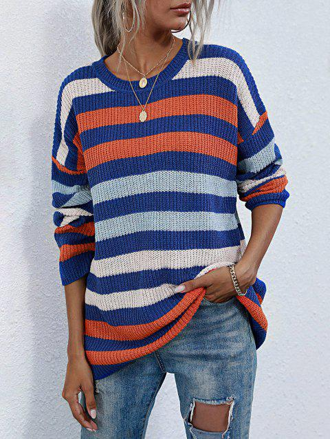 Crewneck Colorful Striped Tunic Sweater