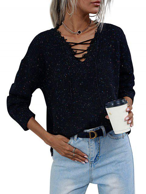Lace-up Heathered Distressed Trim Sweater