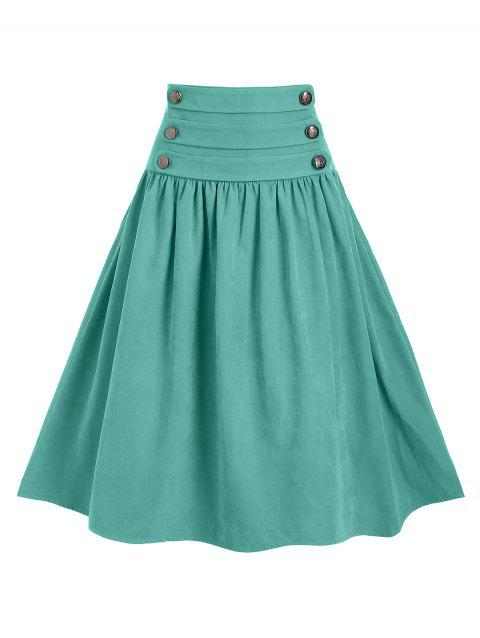 Mock Button Lace Up High Waist A Line Skirt