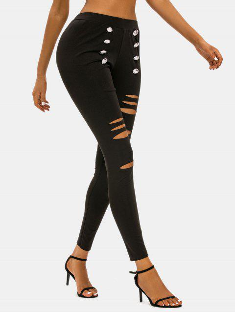 Ripped Sailor Button High Rise Skinny Pants
