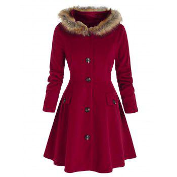 Plus Size Hooded Faux Fur Button Front Skirted Coat