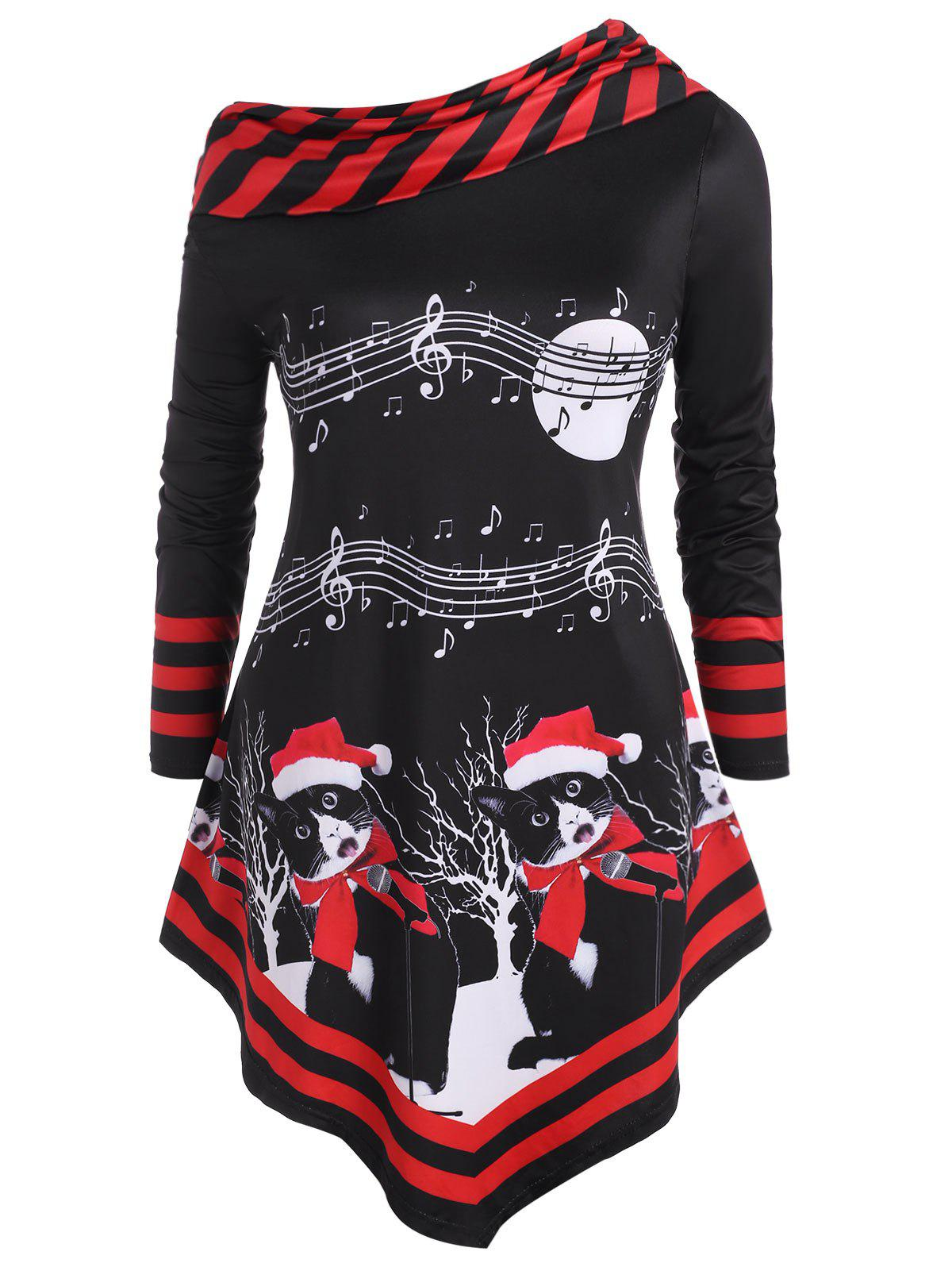 Christmas Cat Stripes Panel Musical Note Print Plus Size Top - RED 5X