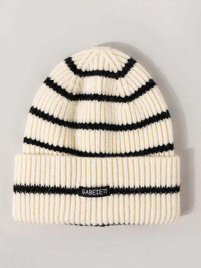 Letter Label Striped Ribbed Knitted Hat - WHITE