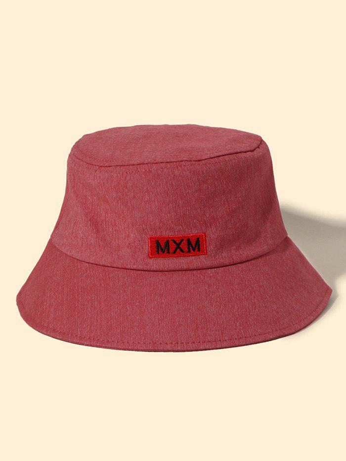 Embroidery Graphic Letter Cotton Bucket Hat - RED WINE