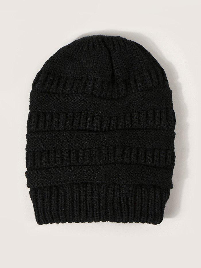Winter Solid Ribbed Knitted Hat - BLACK