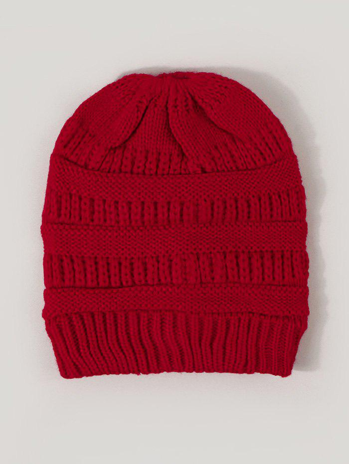 Winter Solid Ribbed Knitted Hat - RED WINE