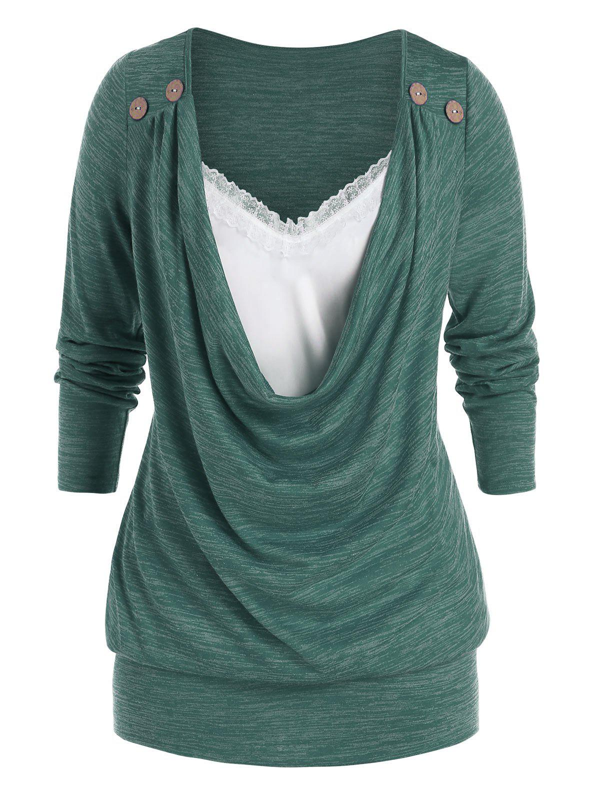 Plus Size Cowl Front Lace Panel Long Sleeve Tunic Tee - SEA TURTLE GREEN L