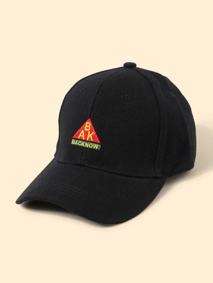 Embroidered Letters Graphic Baseball Cap - BLACK