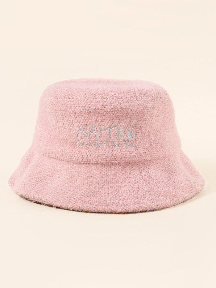 Letter Pattern Embroidery Fuzzy Bucket Hat - LIGHT PINK