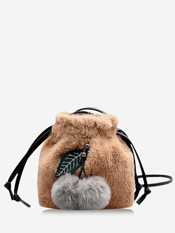 Fruit Detail Faux Fur Fluffy Crossbody Bag - CAMEL BROWN