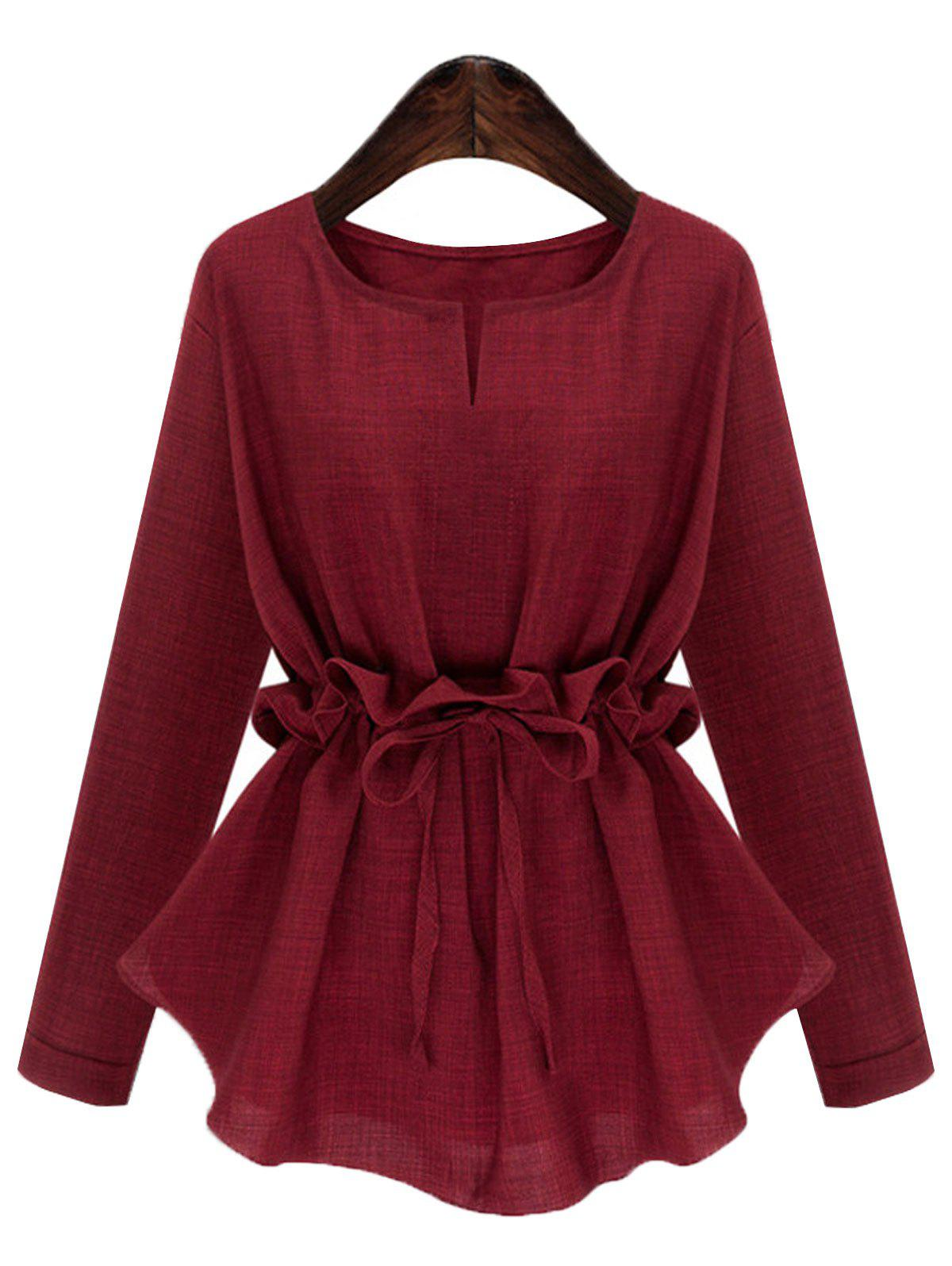 Plus Size V Neck Drawstring Top - DEEP RED 2XL