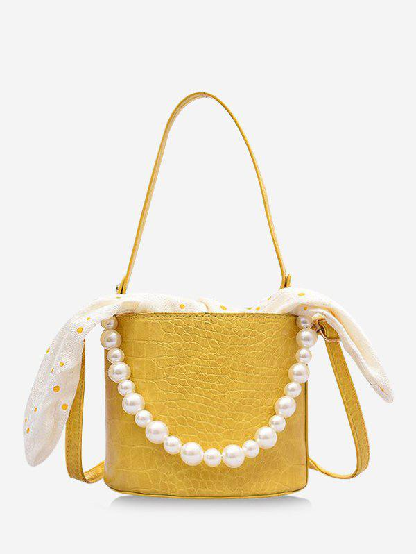 Polka Dot Print Bowknot Faux Pearl Bucket Bag - GOLDENROD