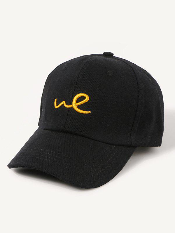 Embroidered Letter We Adjustable Baseball Cap - BLACK