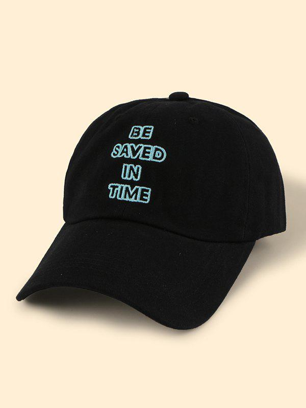 Hollow Letter Embroidery Adjustable Baseball Cap - BLACK