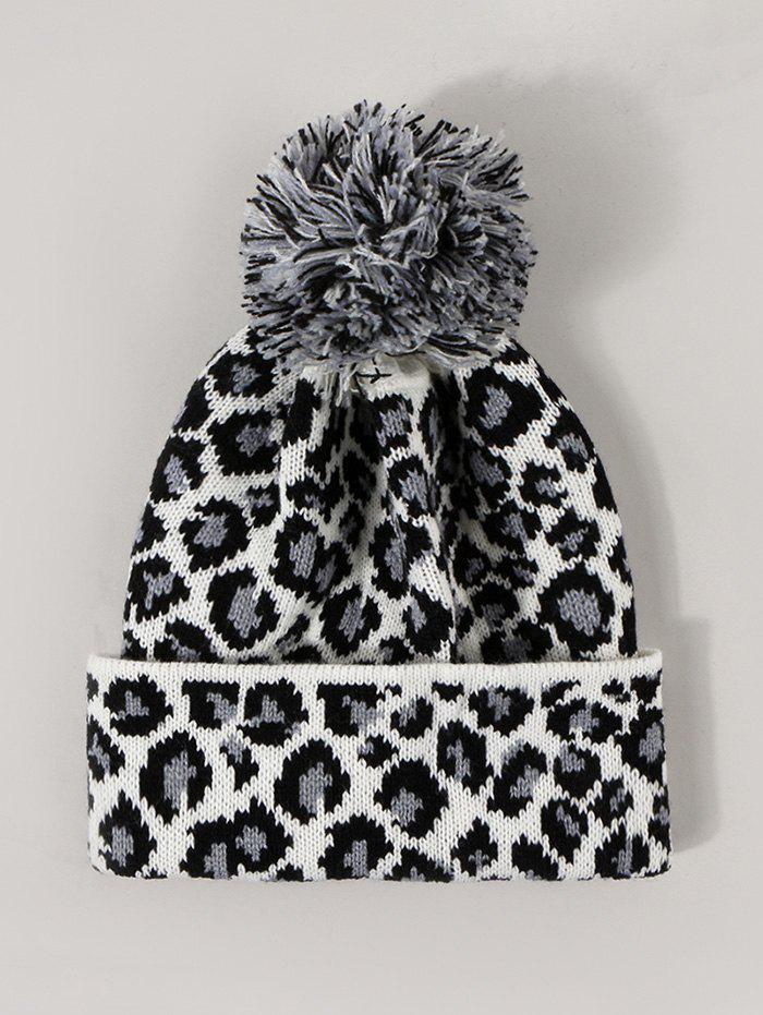 Leopard Print Knitted Bubble Hat - WHITE