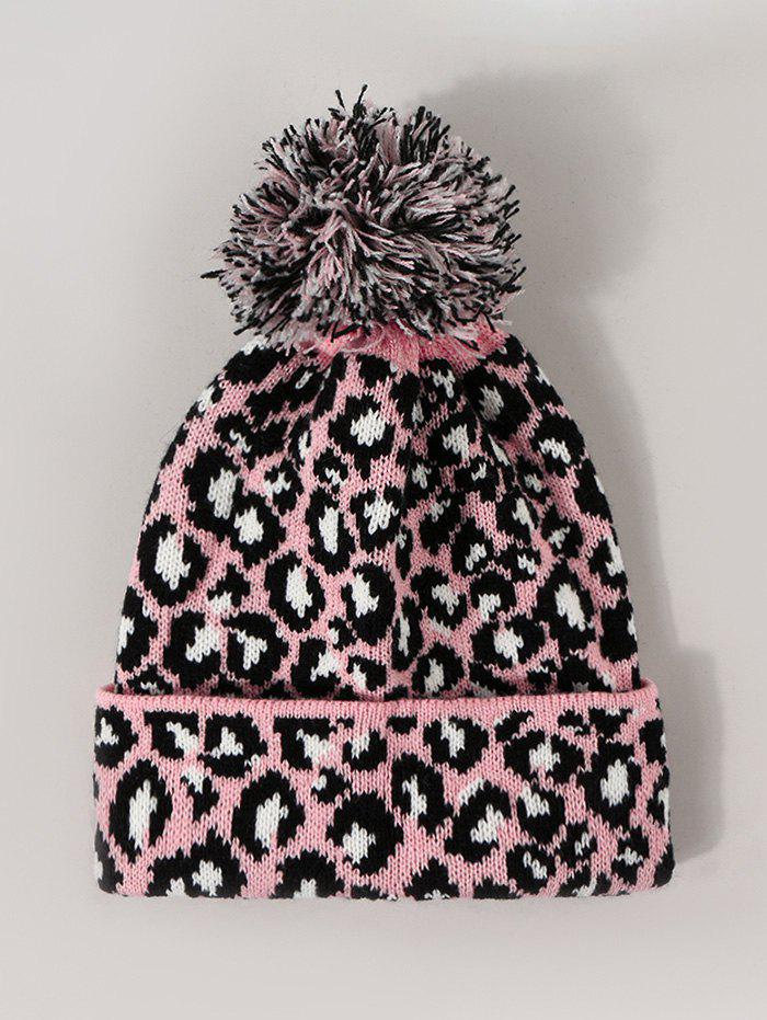 Leopard Print Knitted Bubble Hat - LIGHT PINK