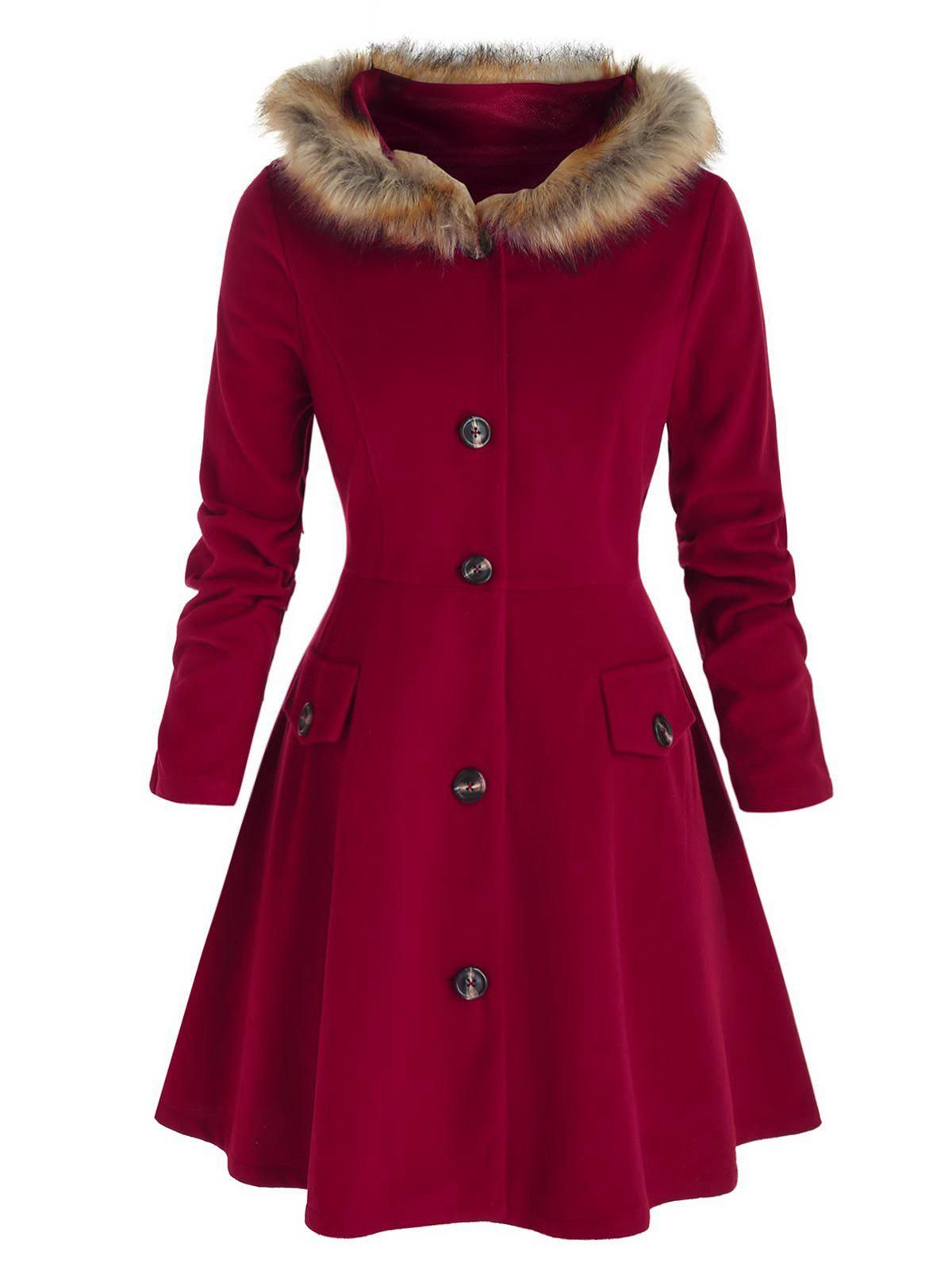 Plus Size Hooded Faux Fur Button Front Skirted Coat - RED WINE L