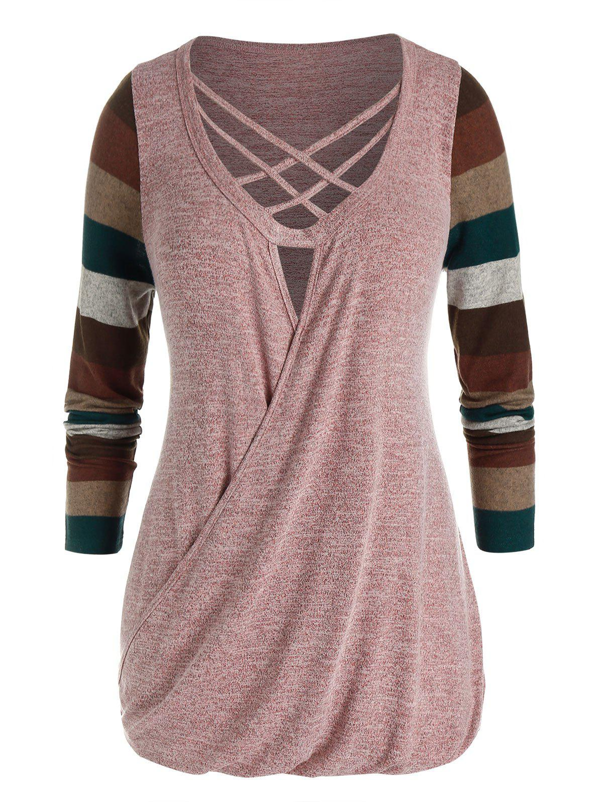 Plus Size Striped Lattice Blouson Knit Tunic Tee - LIGHT PINK 5X