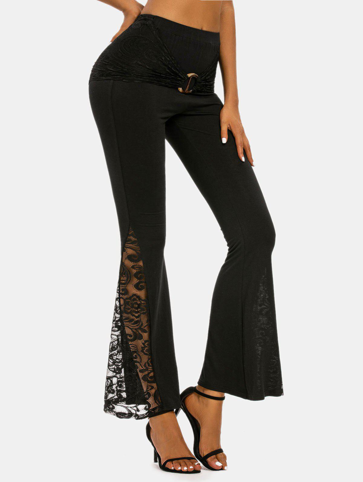 O-ring Ruched Lace Insert Flare Pants - BLACK 3XL