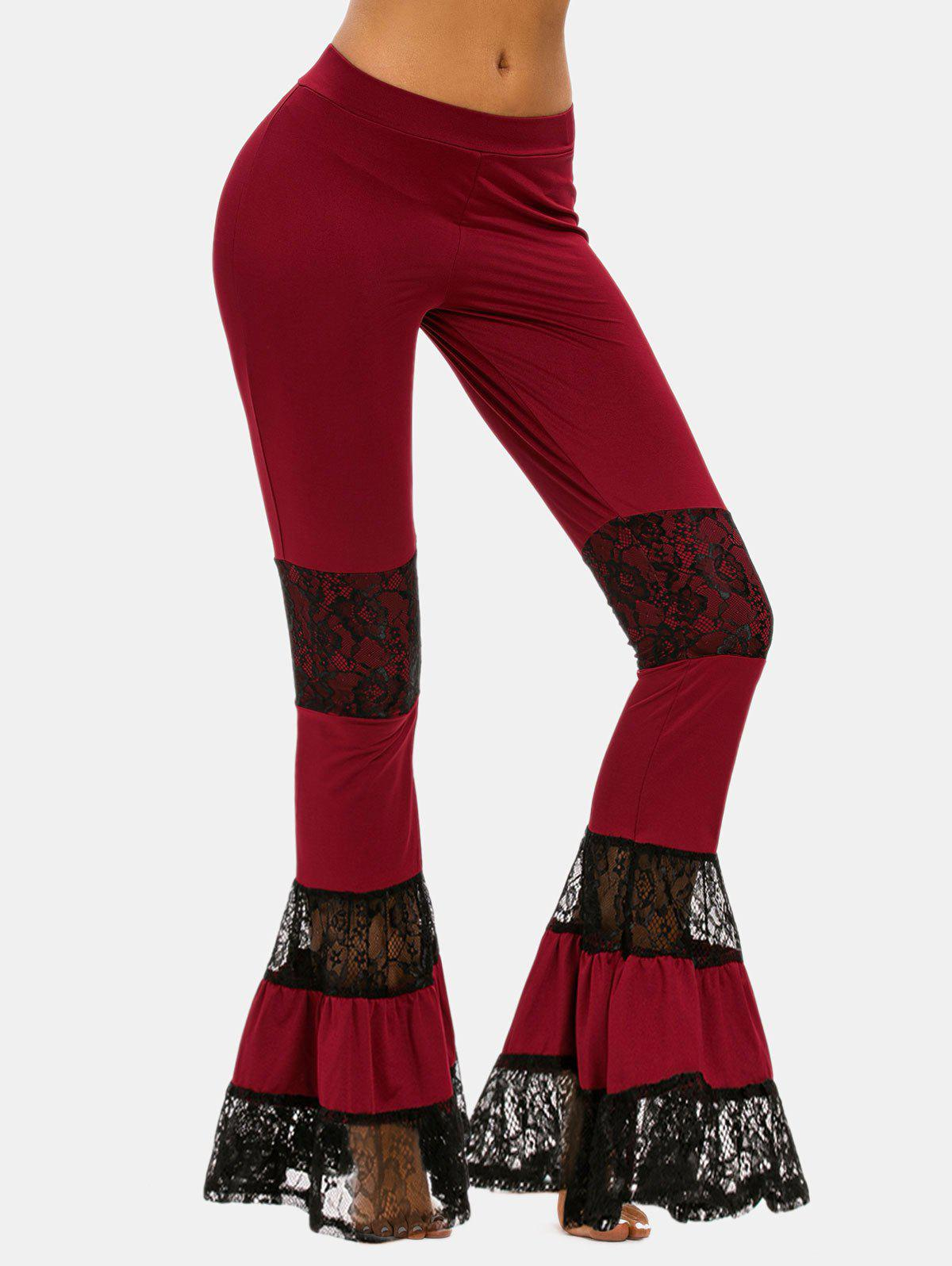 Lace Panel Flare Bottom Pants - DEEP RED XXL