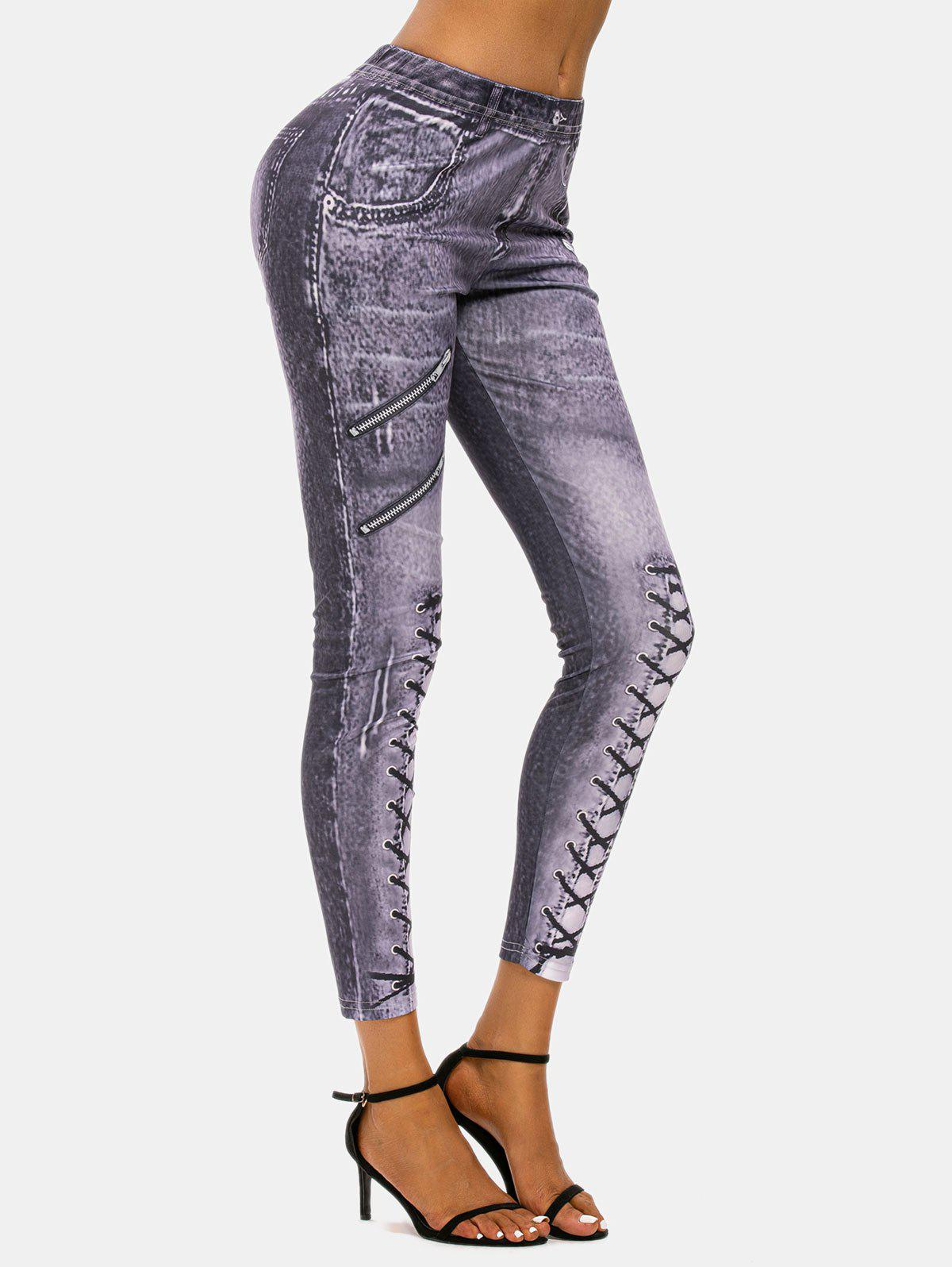 3D Lace-up Zip Print Skinny Jeggings - PURPLE XXL