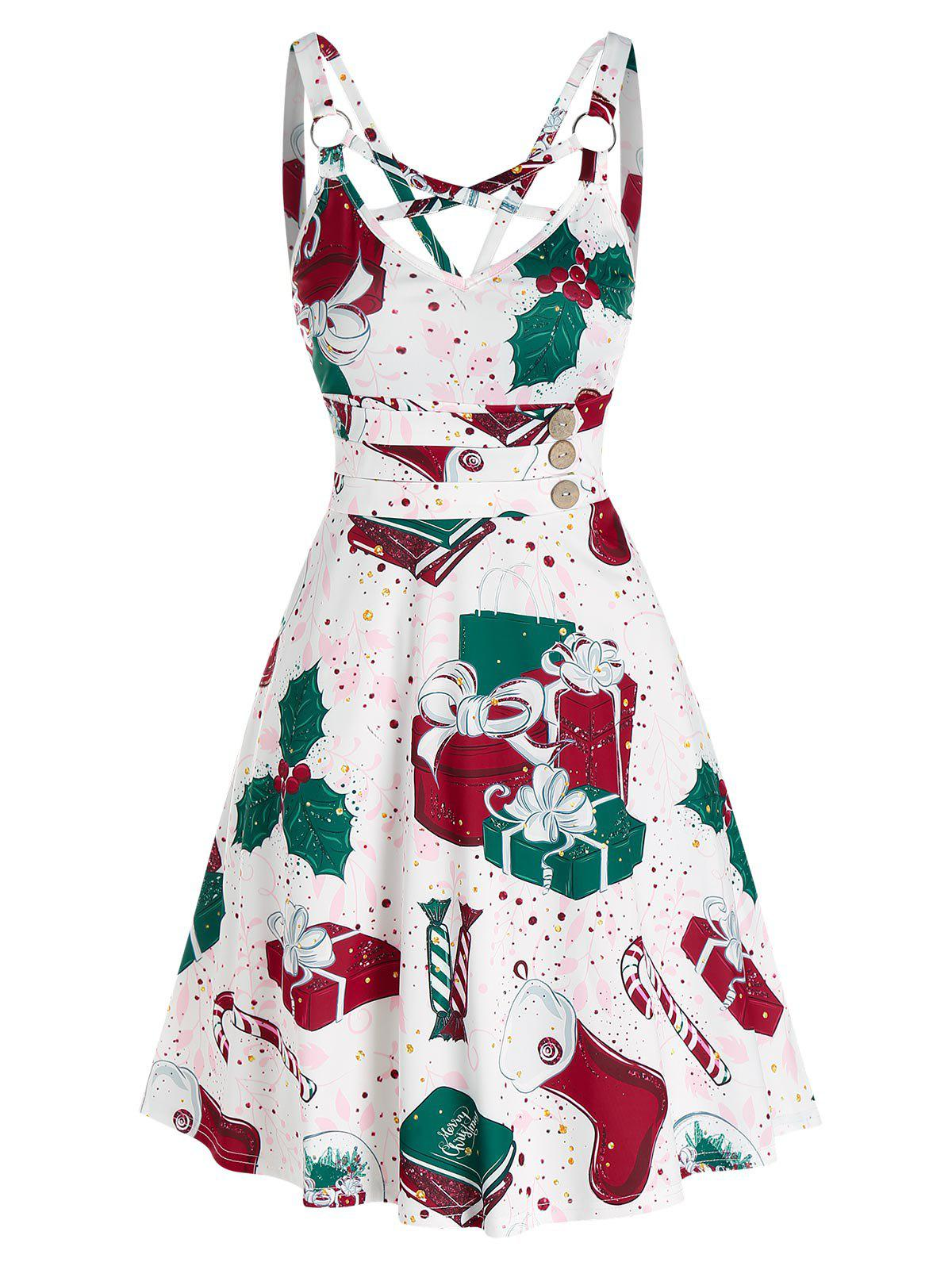 Christmas Gifts Socks Print Sleeveless Strappy Dress - RED 2XL