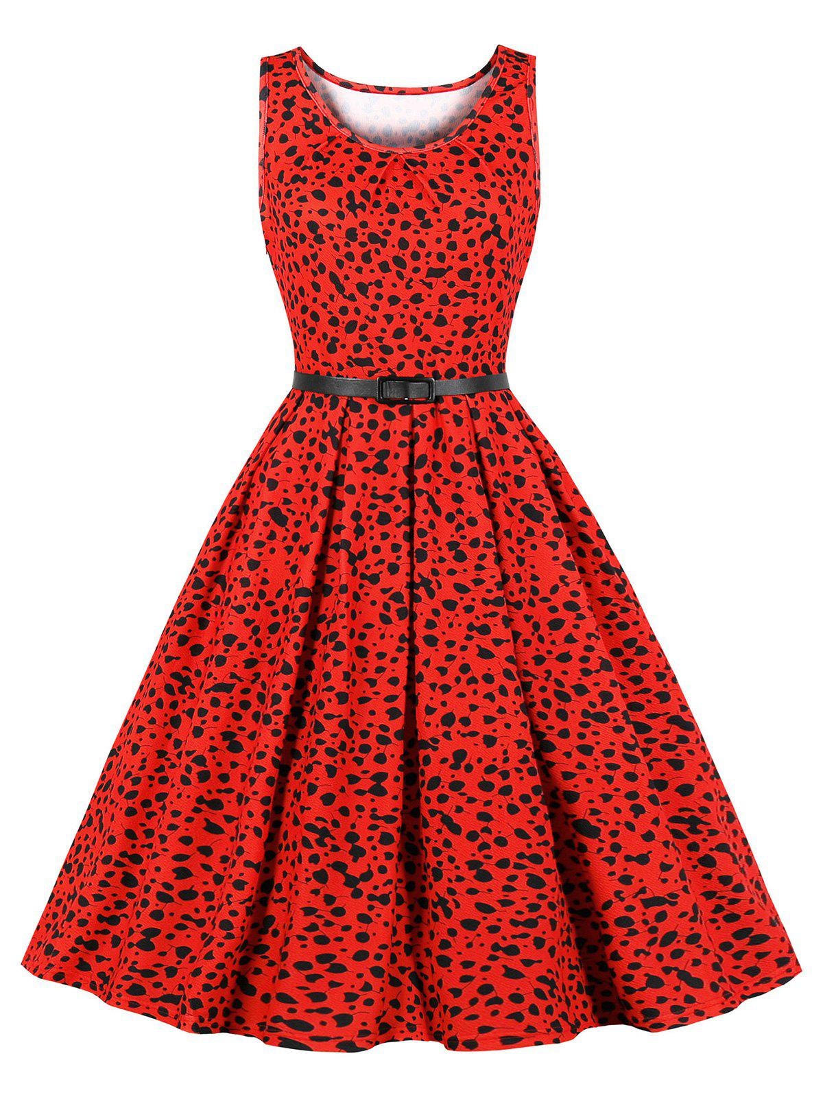 Allover Printed Belted Flared Retro Dress - RED S